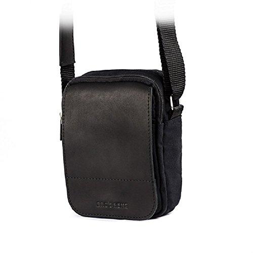 Brodrene EchteLeder und Baumwolle Herren Schulter Tablet iPad Tasche Premium ML04 Schwarz