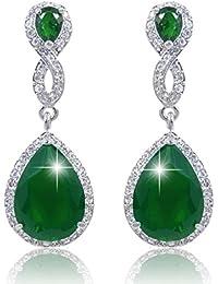 EVER FAITH® Boucle d'Oreilles Forme Goutte Cristal Autrichien Zircone