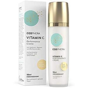 Cosphera – Vitamina C Performance Crema 50 ml – con ácido hialurónico – vegana de día y noche crema hochdosiert para cara, cuello, ojos – Anti-arrugas hidratación para mujeres y hombres