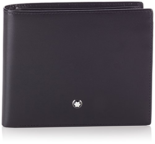 Wallet, Made Of Black European Full-Grain Cowhide With Unique Montblanc Deep Shine, Jacquard Lining With Montblanc Brand Name, Montblanc Emblem With Palladium-Finish Ring, With 10 Pockets For Credit Cards, 2 Compartments For Cash, Flap Coin Case