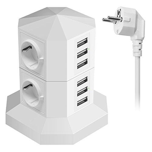 Ab 8 Steckdosen Überspannungsschutz (JZBRAIN USB Steckdosenleiste Überspannungsschutz mit 6 USB-Ports 4 Fach Einzeln Schaltbar Mehrfachsteckdose smartes und schnelles Aufladen, Steckdosenturm mit 2 m Verlängerungskabel (weiß))