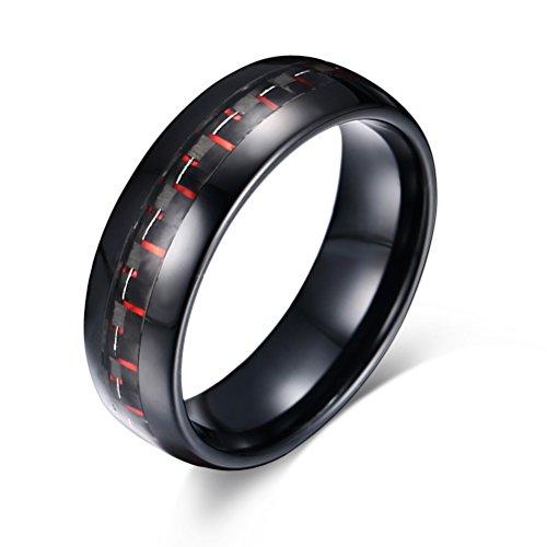 Vnox Männer 8mm Wolfram Ring Schwarz und Rot Carbon Faser Inlay Engagement Hochzeit Band,Black Base Sein Und Ihrs Ringe Wolfram