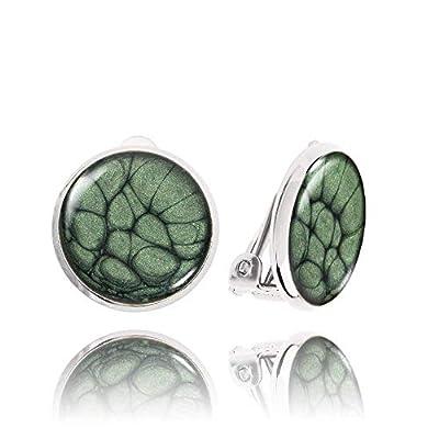 Jolies Petites Boucle d'Oreilles Clips non Percées Plaquées Argent de couleur Verte; Cadeau Insolite Anniversaire pour Épouse; Diamètre 1.4cm