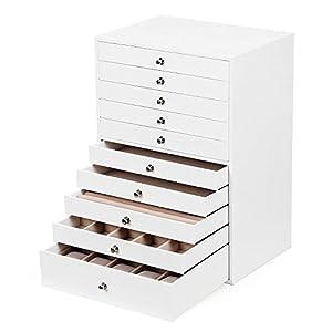 SONGMICS Schmuckkästchen, Schmuckschatulle mit 10 Ebenen, große Schmuckbox aus Kunstleder, mit Schubladen und Uhrenkissen, 29 x 20,5 x 40,5 cm, weiß JBC10W