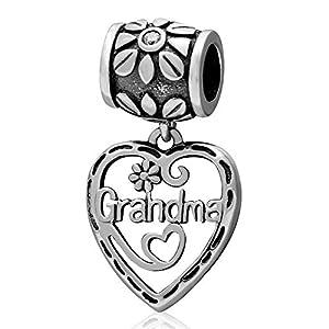 """Charm-Anhänger für Pandora-Charm-Armband, 925 Sterlingsilber, Aufschrift""""Grandma"""" B"""