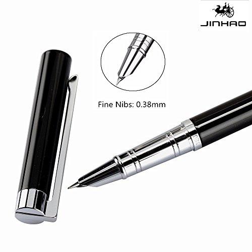 edle schreibgeräte Jinhao 126 Iridium 0.38mm Fein Nib Hooded kalligraphie füller Klassisch Schreibwaren füllfederhalter (Black) (Bag Paper Pattern)