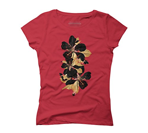 Flowers Gold Women's Graphic T-Shirt - Design By Humans Red