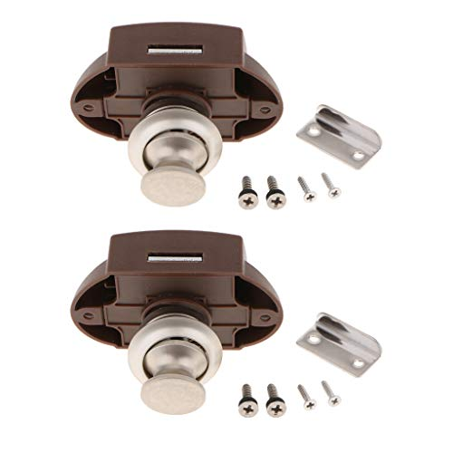 Shiwaki 2 Stück Push Button Catch Door Lock Verriegelung Keyless-Schrank Lock Catch Schrankknopf Lock für Pferdeanhänger Camper -