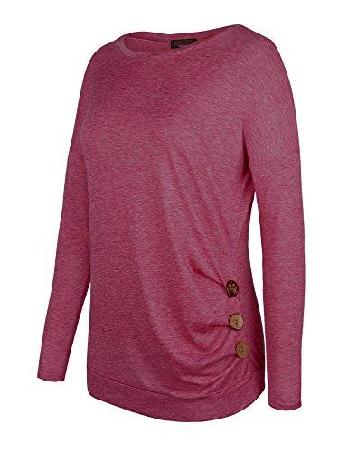 Vessos Damen Langarm Tunika Tops Knit Button Crew Neck Bluse T-Shirt Pullover Muster 5