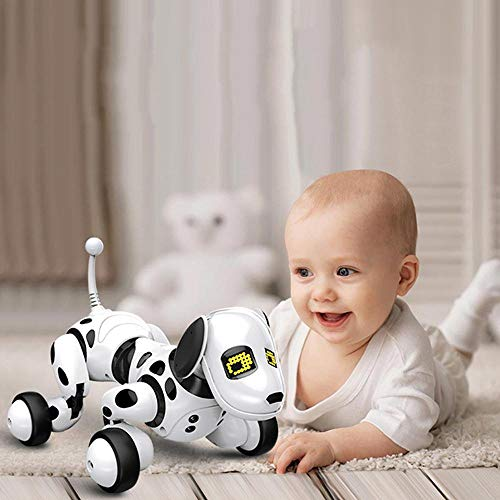 KOBWA Remote Control Robotic Dog, Smart Robot Dog, Wireless Robot Dog, Walking, Talking, Canta e Matematica per Bambino/Bambina (Bianco) White