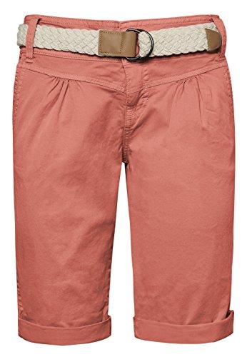 Fresh Made Damen Bermuda-Shorts in Pastellfarben mit Flecht-Gürtel | Elegante kurze Hose im Chino-Style orange L
