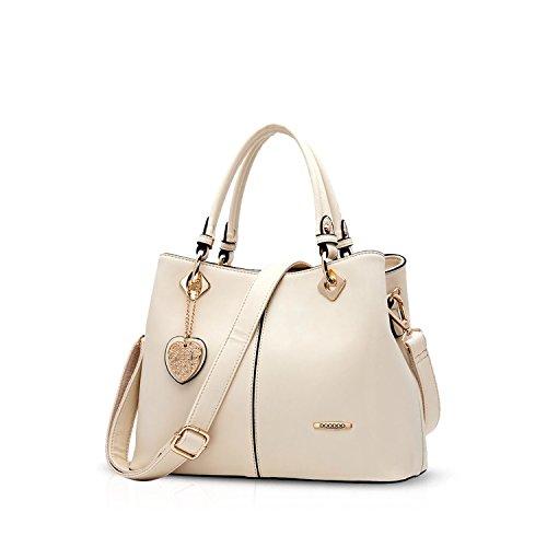 NICOLE&DORIS Neue Mode Damen Handtaschen Umhängetasche Tasche Crossbody Tasche PU Beige (Mode Tasche Damen Neue)