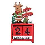 peijuan921 Calendario de Madera de Navidad, Calendario de diseño de Escritorio de Alces, Suministros de Oficina de Escritorio, Rojo