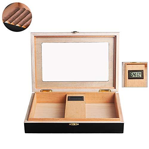 DZWJ Zigarren-Humidor Handmade Handgefertigter Holz-Zigarren-Desktop-Humidor mit Glasplatte, Hygrometer und Luftbefeuchter für bis zu 20-25 Zigarren