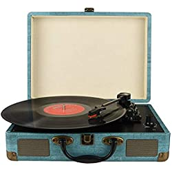 Portable Platine Vinyle, Trois Vitesse 33/45/78 avec Haut-Parleur Intégré / Bluetooth / AUX in et Prise RCA
