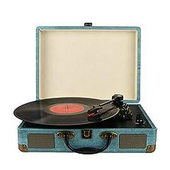 Idea Regalo - Giradischi Vinile, 3 Velocità (33 1/3, 45 E 78 Giri) stereo Portatile Giradischi, con Altoparlanti Incorporati, Bluetooth, 3.5mm AUX-IN E Jack per Cuffie, Linea RCA