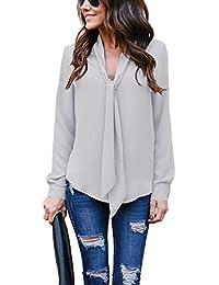 1247e557c Mujer Camisas Casual Elegante De Gasa De Manga Larga Pour Oficina Camiseta  Blusa De Gasa Color Sólido con Cuello.