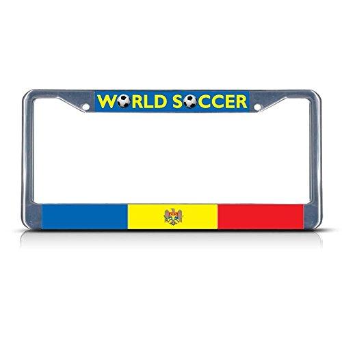 Moldova Fußballmannschaft Metall-Kennzeichenrahmen mit Zwei Löchern, perfekt für Männer und Frauen, Auto-Garadge Dekor -