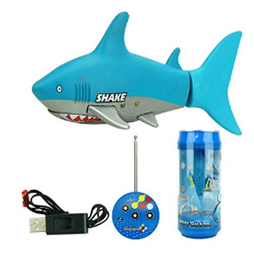 ELVVT Kreative Mini RC Shark Boat 10,6x4,5x5,7 cm Mini Shark Schwimmen 4CH Fernbedienung Rudern Wasser Spielzeug Weihnachten Geburtstagsgeschenk Für Kinder (Color : Light Blue)