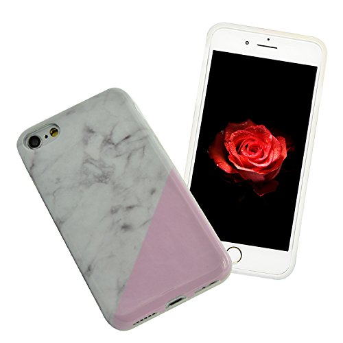 iPhone 6S Plus Marmor Hülle,iPhone 6 Plus Marble Case,Sunroyal Kreative Stylish Schickes Retro Elegant Schön Luxus Weiß Schwarz Granite Grain Stein Pattern Silikon Handyhülle Weiß Stein Glamour Ultrad Pattern 14