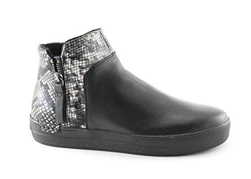 CAF NOIR DB912 Les chaussures de roche noire milieu sheakers glissière latérale femme python