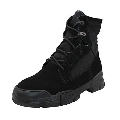 uirend Schuhe Damen Stiefel Stiefeletten - Biker Motorrad Combat Kampfstiefel Militär Wandern Schwarz Wüstenstiefel Outdoorschuh (Schuhe ist Kleiner) (Vertikalen Griff Taktisches Licht)