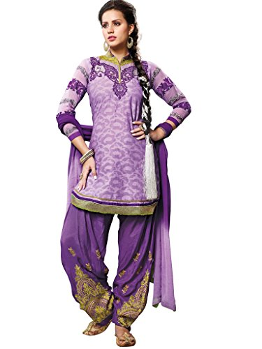 Purple Foux Cotton Semi Party Wear Zari Thread Embroidery Patiala Suits 6004