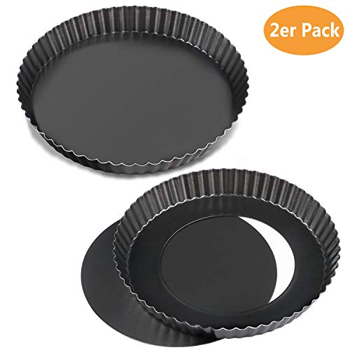WisFox 2 Pack Non-Sticks 8,8 Zoll Quiche Tart Pfanne, abnehmbare Loose Bottom Tart Pie Pan, Runde Tart Quiche Pfanne mit abnehmbaren Basis Pie Pan Fall
