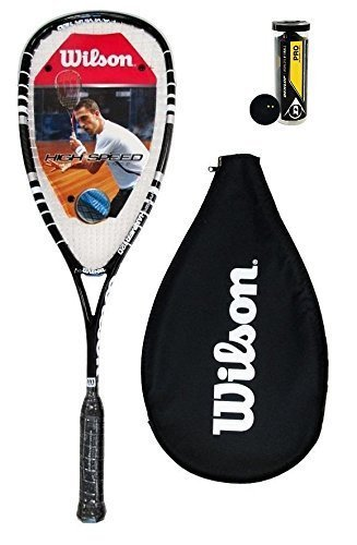 Wilson Hyper Hammer 120 PH Squashschläger + 3 Dunlop Squash Bälle - Schwarz + 3 Pro Bälle