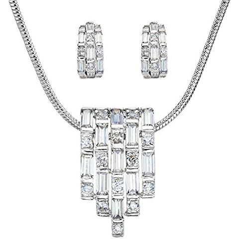 EVER FAITH®collana pendente di cristallo nuziale CZ austriaco Orecchini Set silver-tone delle