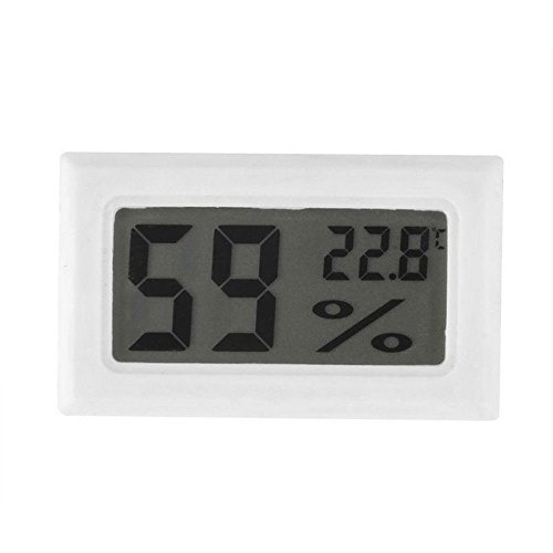 Rosepoem Mini-LED-Digital-Thermometer mit 2 Knopfbatterien für Inkubator Reptile Greenhouse (White)
