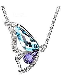 Collar Mariposa Swarovski Elementos Aquamarine + tanzanita