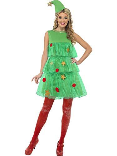 Karnevalsbud - Damen Frauen Kostüm Weihnachtsbaum Tannenbaum Christbaum Kleid im Stufen Design mit Mütze, perfekt für Weihnachten Karneval und Fasching, M, (Weihnachtsbaum Kostüm Kleid)