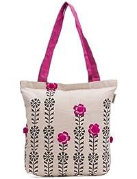 pick pocket Women's Tote Bag (White & Pink) (toblkpkpom8)