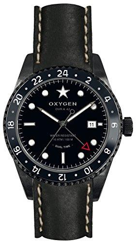 OXYGEN EX-DT-ZEB-42-CL-BL Montre bracelet Mixte, Cuir, couleur: noir