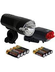 Büchel Batterieleuchtenset 15 LUX LED Rücklicht StVZO zugelassen für alle Fahrräder, Schwarz, 51125357