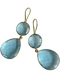 Gemshine - Damen - Ohrringe - 925 Silber - Vergoldet - Quarz - Topas - Blau - CANDY - Tropfen - 6 cm