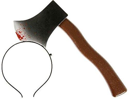 Evil Wear Fasching-Haarreif Grusel-Kostüm Halloween blutige AXT im Kopf (Beil) (Gruselkostüme)