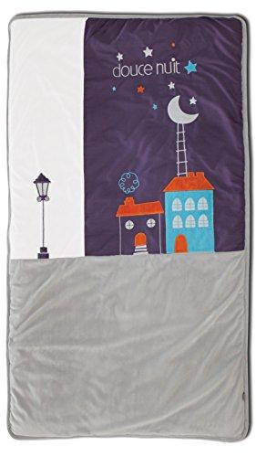 Les Chatounets Couvre Lit Motif Chat Prune/Gris/Blanc 80 x 140 cm