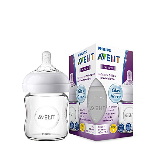 Philips Avent Natural Flasche SCF051/17, 120 ml, naturnahes Trinkverhalten, Anti-Kolik-System, aus Glas, 1er Pack Glas Flasche Glas