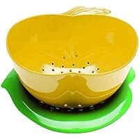 Zak Designs 2147-A850 - Scolapasta e piattino, progettazione di mela, giallo e verde
