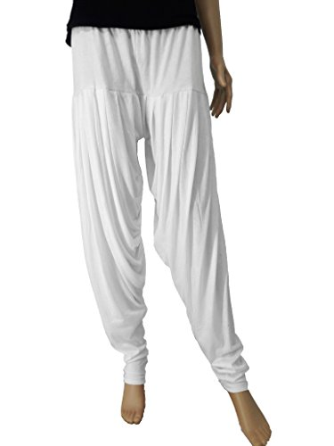 FABRICS CLOUD Soft Women's Viscose Spandex Premium Patiala Salwar Pant (White -...