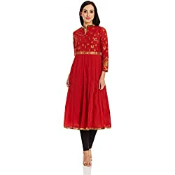 Biba Women's Straight Kurta (FESTIVE11818_Red_38)