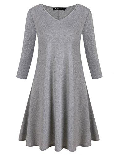 Anna Smith Tunika T-Shirt für Frauen, Feminine V-Kragen 3/4 Ärmel Fit Flowy Flare Plissee Dressy Shirt Retro Klassische Comfy Resort Tops für Workout Light Grey X-L (Nicht-eisen-shirt Klassischen,)