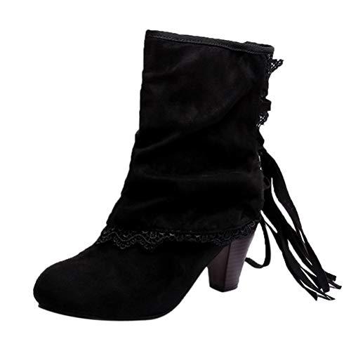 Frauen Casual High Heels Stiefeletten Runde Spitze Kreuz Gebunden Stoff Unten Spitze Patchwork Buckled Wedges Schuhe