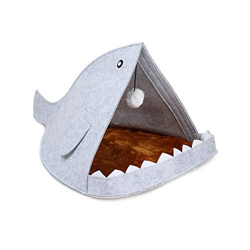 SUNNYBAND Kreatives Haifisch-Haustierhaus für Hunde und Katzen, weiches Zelt, abnehmbar, warm, Kissen für Kätzchen, 40 x 60 x 40 cm -