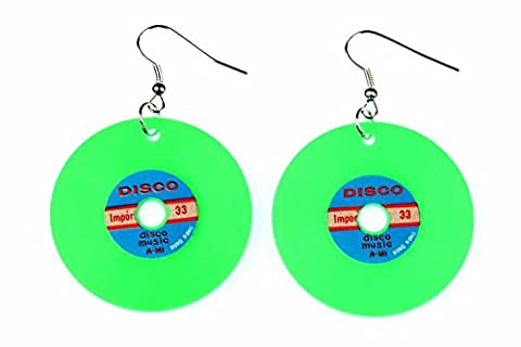 Schallplatten Ohrringe LP Vinyl DJ Musik Miniblings Plattenohrringe XL neon grün