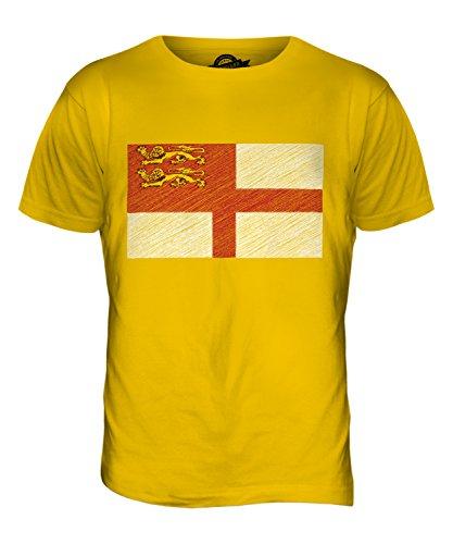 CandyMix Sark Bandiera Scarabocchio T-Shirt da Uomo Maglietta Giallo Scuro
