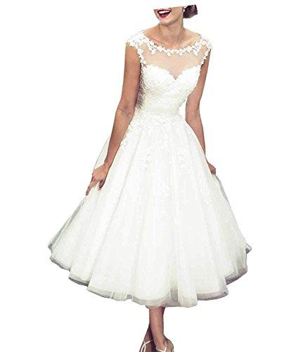 Carnivalprom Damen Rundhals Hochzeitskleid Elegant Standesamt Ärmellos Brautkleid Teelänge (Weiß...