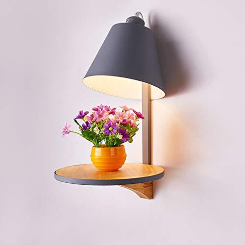 HAOBAOHolz Wandleuchte Moderne Macaron Wand Lampe Stilvolle Schlafzimmer Nachttischlampe Wohnzimmer Lampe Eisenkunst Lampenschirm Eiche Lampenkörper Wandbeleuchtung E27 max40W Ø30cm*41cm, Grau -